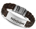 JBG Jewellery 316L Stainless Steel Clasp Unisex Jewelry Braided Brown PU Leather Charm Exquisite Pattern Manual Weaved Leather Bangle Bracelet In a Nice Jewellery Box