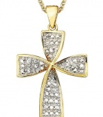 Victoria Townsend 18k Gold over Sterling Necklace, 18 Diamond Accent Cross Pendant